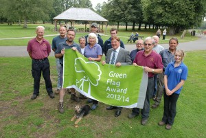 Cllr Parker and Dave James with some of the volunteers who help look after the Park